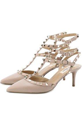 Кожаные туфли Valentino Garavani Rockstud с ремешками на шпильке | Фото №1