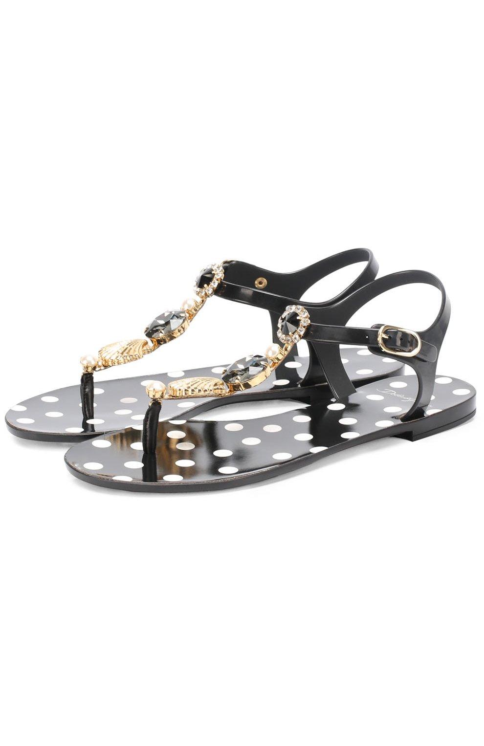 Резиновые сандалии с кристаллами   Фото №1