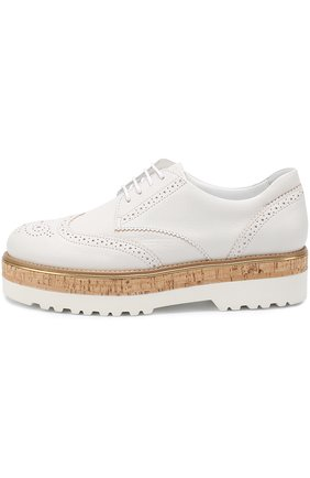 Кожаные ботинки с брогированием на платформе Hogan белые | Фото №3
