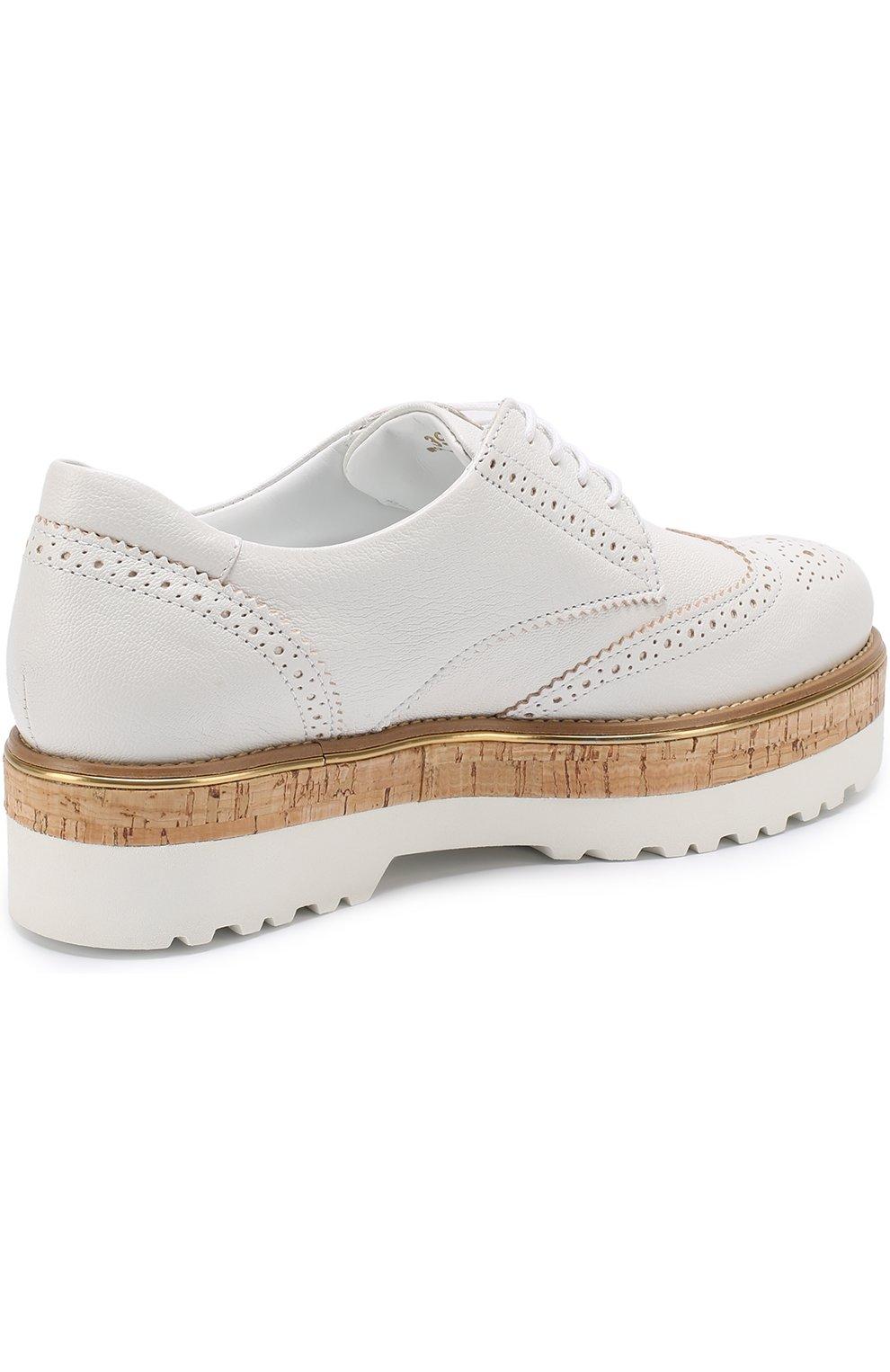 Кожаные ботинки с брогированием на платформе Hogan белые | Фото №4