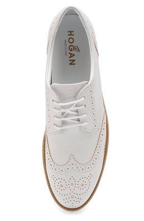 Кожаные ботинки с брогированием на платформе Hogan белые | Фото №5