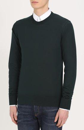 Шелковый джемпер тонкой вязки Dolce & Gabbana зеленый | Фото №3