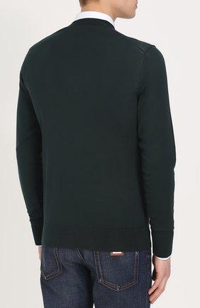 Шелковый джемпер тонкой вязки Dolce & Gabbana зеленый | Фото №4