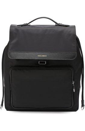 Текстильный рюкзак с внешним карманом на молнии Dolce & Gabbana черный | Фото №1