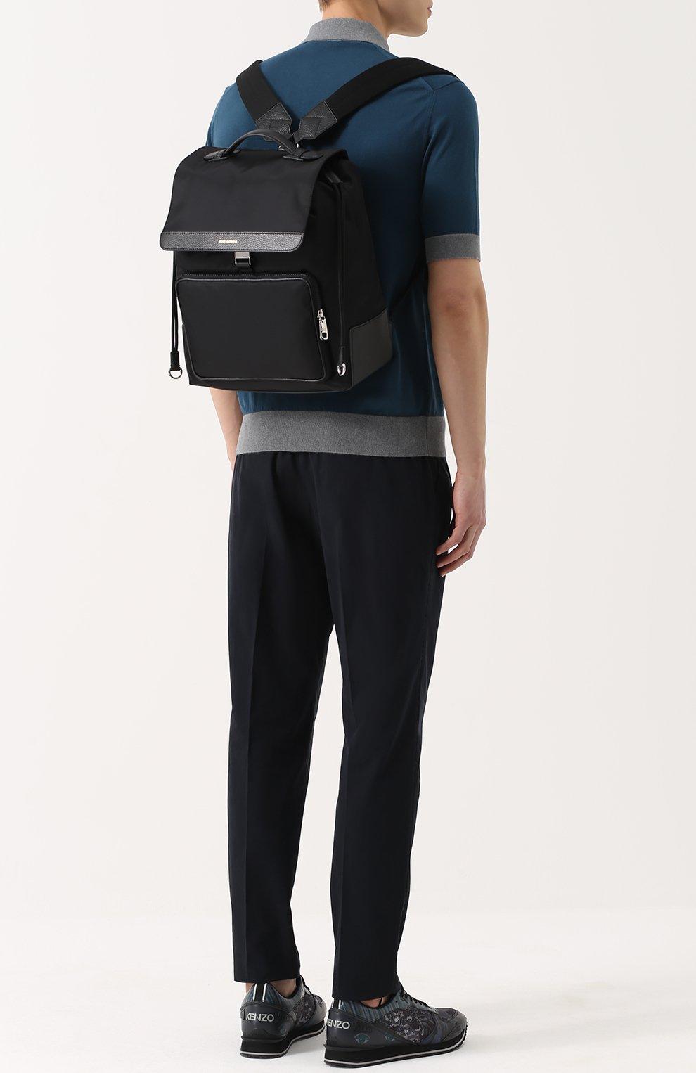 Текстильный рюкзак с внешним карманом на молнии Dolce & Gabbana черный | Фото №2