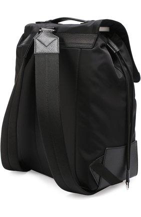 Текстильный рюкзак с внешним карманом на молнии Dolce & Gabbana черный | Фото №3