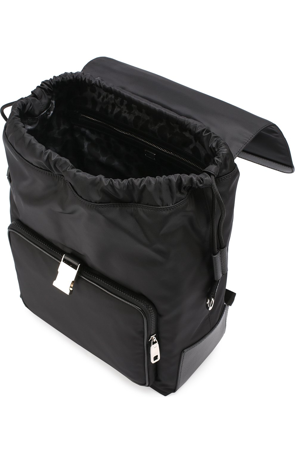 Текстильный рюкзак с внешним карманом на молнии Dolce & Gabbana черный | Фото №4