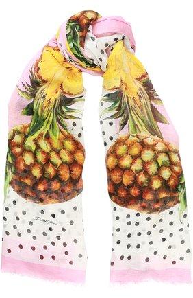 Шарф с принтом Dolce & Gabbana розовый | Фото №1