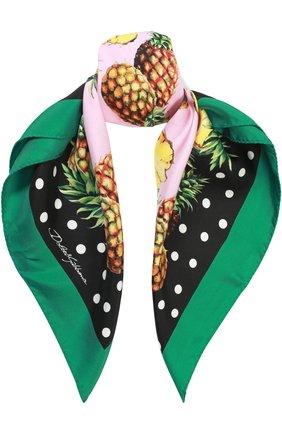 Шелковый платок с принтом Dolce & Gabbana зеленый   Фото №1