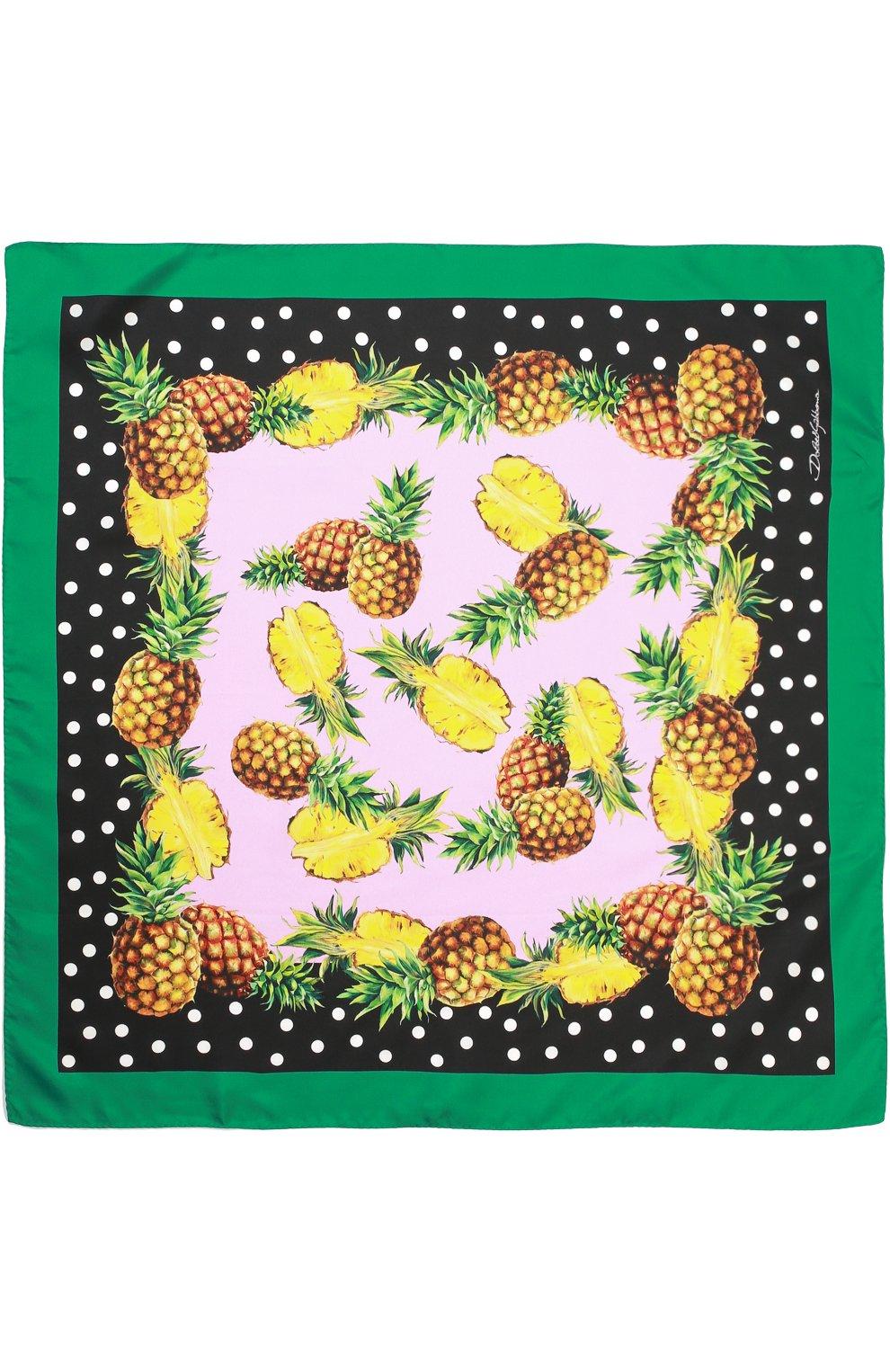 Шелковый платок с принтом Dolce & Gabbana зеленый   Фото №3