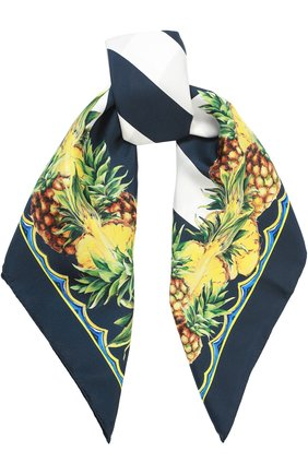 Шелковый платок с принтом Dolce & Gabbana синий | Фото №1