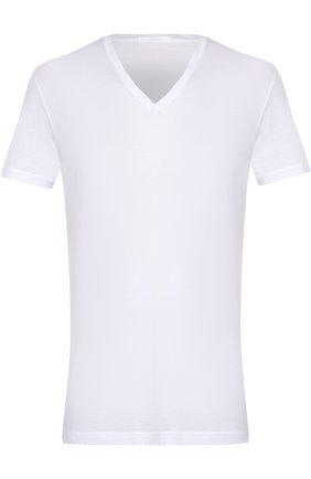 Мужские хлопковая футболка с v-образным вырезом LA PERLA белого цвета, арт. 0020152 | Фото 1