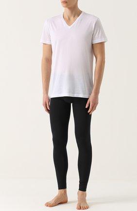 Мужские хлопковая футболка с v-образным вырезом LA PERLA белого цвета, арт. 0020152 | Фото 2