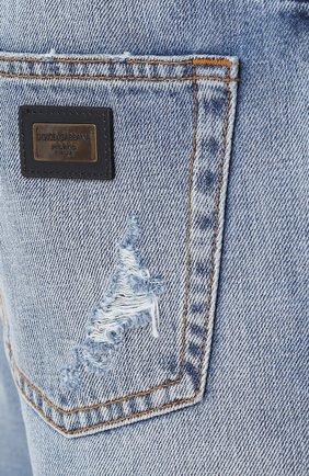 Джинсы прямого кроя с декоративными потертостями Dolce & Gabbana голубые | Фото №5