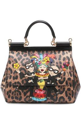Сумка Sicily medium new с аппликацией DG Family Dolce & Gabbana леопардовая цвета | Фото №1