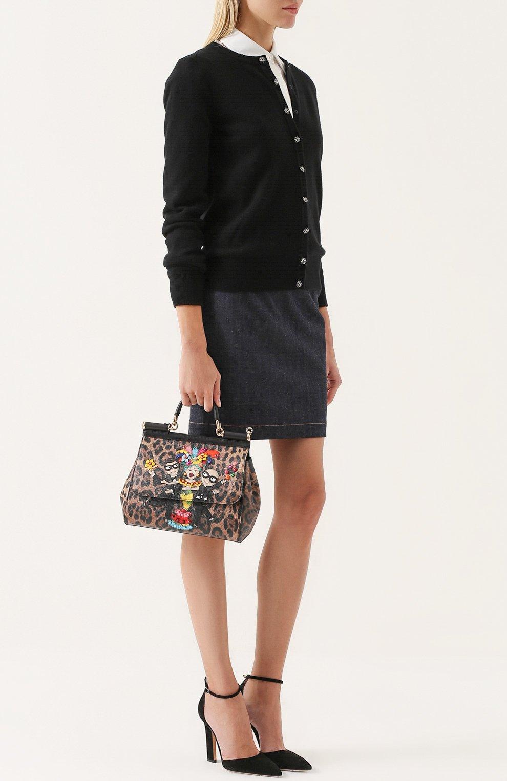 Сумка Sicily medium new с аппликацией DG Family Dolce & Gabbana леопардовая цвета | Фото №2