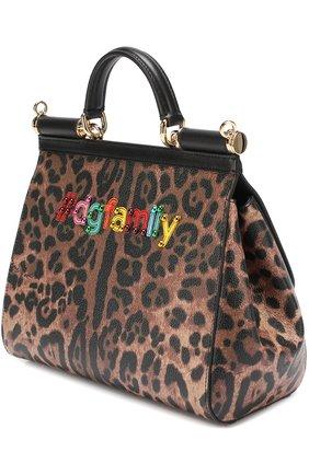 Сумка Sicily medium new с аппликацией DG Family Dolce & Gabbana леопардовая цвета | Фото №3