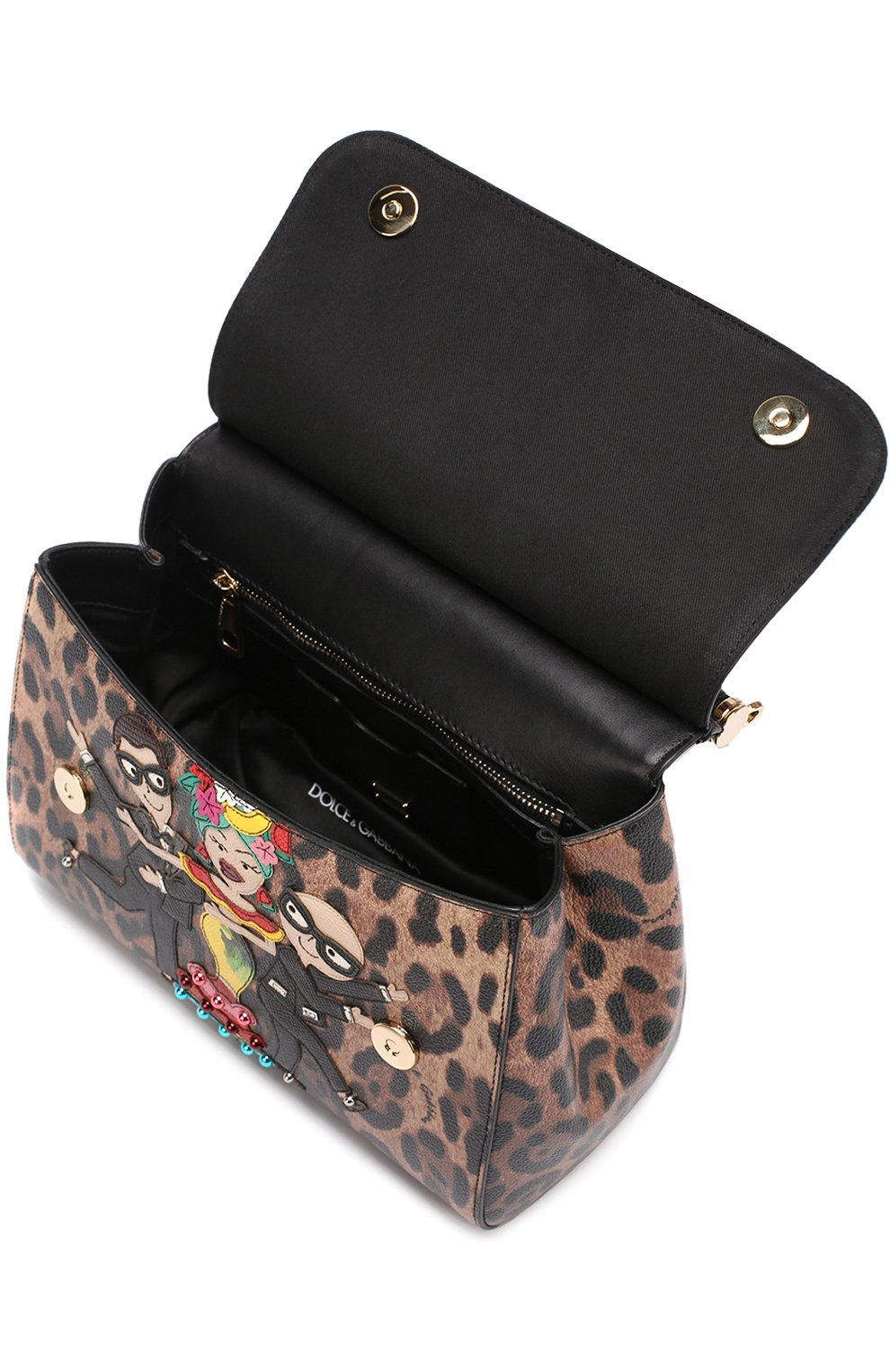 Сумка Sicily medium new с аппликацией DG Family Dolce & Gabbana леопардовая цвета | Фото №4