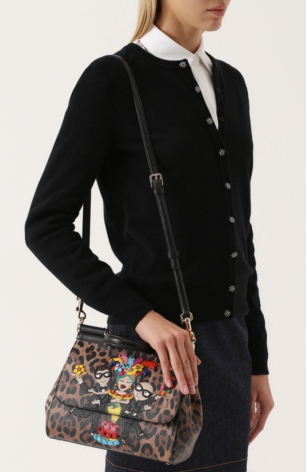 Сумка Sicily medium new с аппликацией DG Family Dolce & Gabbana леопардовая цвета | Фото №5