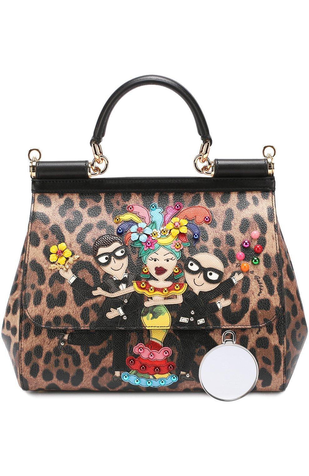 Сумка Sicily medium new с аппликацией DG Family Dolce & Gabbana леопардовая цвета | Фото №6