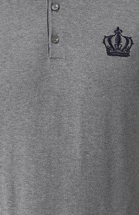 Хлопковое поло с контрастной отделкой Dolce & Gabbana серое | Фото №5