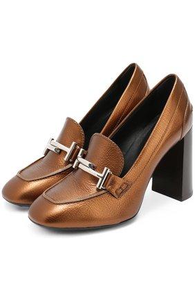 Кожаные туфли с пряжкой на устойчивом каблуке | Фото №1