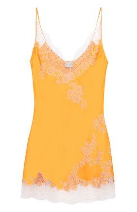 Шелковая сорочка с контрастной кружевной отделкой | Фото №1