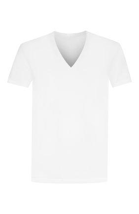 Мужские футболка из смеси хлопка и вискозы с v-образным вырезом LA PERLA белого цвета, арт. 0022507 | Фото 1