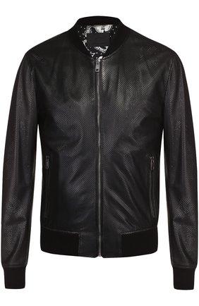 Кожаный бомбер на молнии с перфорацией Dolce & Gabbana черная | Фото №1