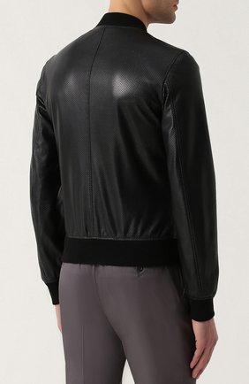 Кожаный бомбер на молнии с перфорацией Dolce & Gabbana черная | Фото №4