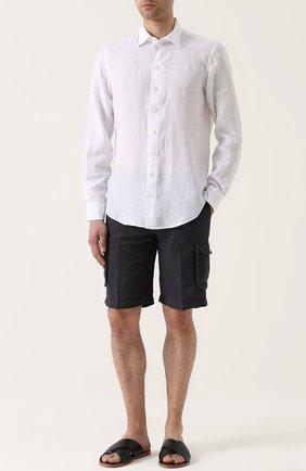 Льняные шорты с накладными карманами | Фото №2
