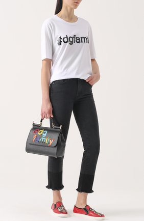 Кожаные слипоны London с аппликациями Dolce & Gabbana красные | Фото №2
