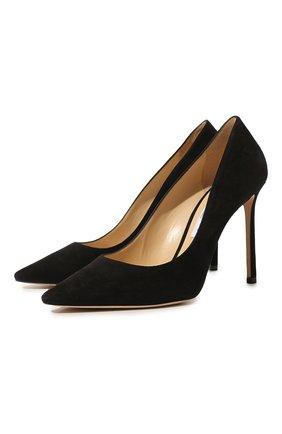 Женская замшевые туфли romy 100 JIMMY CHOO черного цвета, арт. R0MY 100/SUE | Фото 1