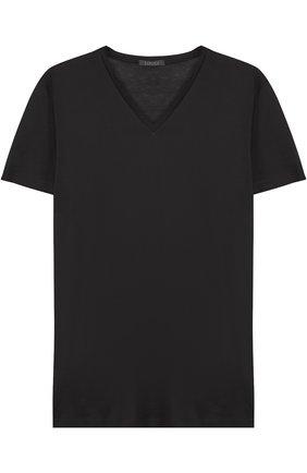 Мужские хлопковая футболка с v-образным вырезом LA PERLA черного цвета, арт. 0020152 | Фото 1