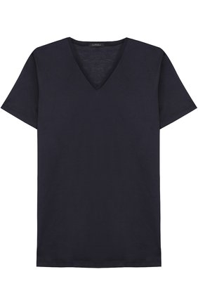 Мужские хлопковая футболка с v-образным вырезом LA PERLA темно-синего цвета, арт. 0020152 | Фото 1