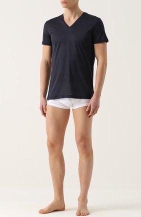 Мужские хлопковая футболка с v-образным вырезом LA PERLA темно-синего цвета, арт. 0020152 | Фото 2