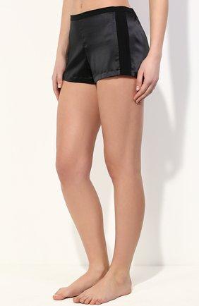 Женские шелковые мини-шорты с лампасами LA PERLA черного цвета, арт. 0017229 | Фото 2