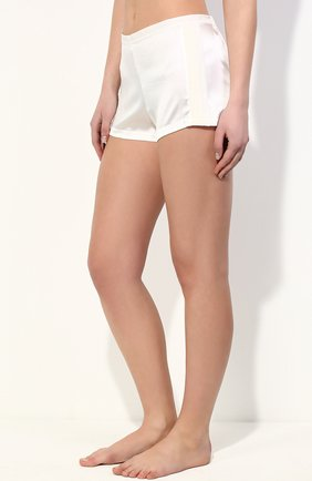 Женские шелковые мини-шорты с лампасами LA PERLA кремвого цвета, арт. 0017229 | Фото 2