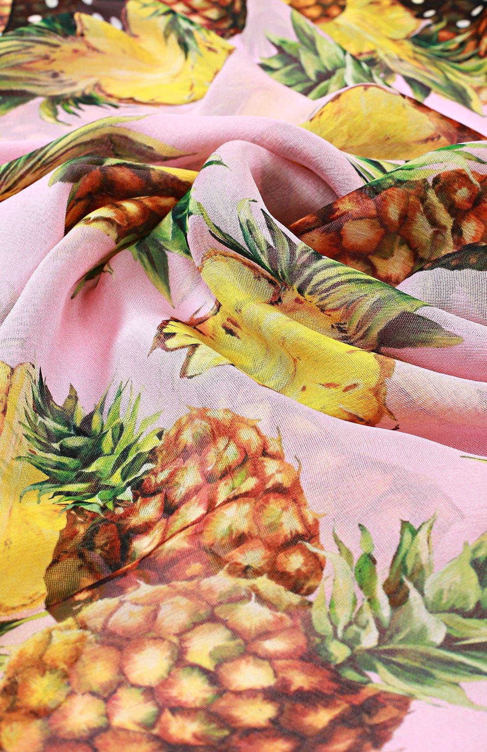 Шелковый шарф с принтом Dolce & Gabbana розовый | Фото №2
