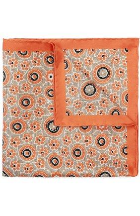 Мужской шелковый платок с узором KITON оранжевого цвета, арт. P0CH/8N10 | Фото 1