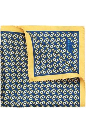 Мужской шелковый платок с узором KITON желтого цвета, арт. P0CH/8N17 | Фото 1