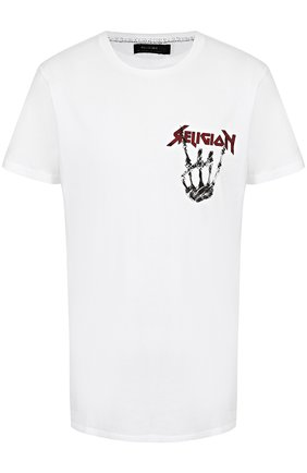 Хлопковая футболка с контрастным принтом Religion белая | Фото №1