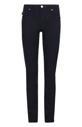 Хлопковые брюки прямого кроя Sartoria Tramarossa темно-синие | Фото №1
