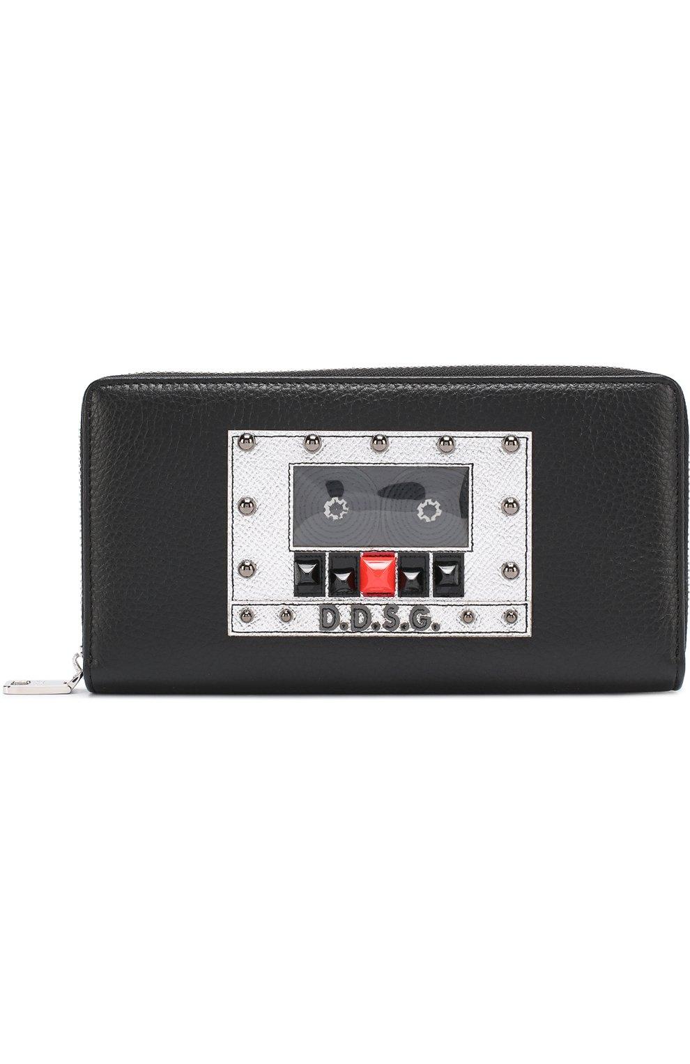 Кожаное портмоне на молнии с отделениями для кредитных карт и монет | Фото №1