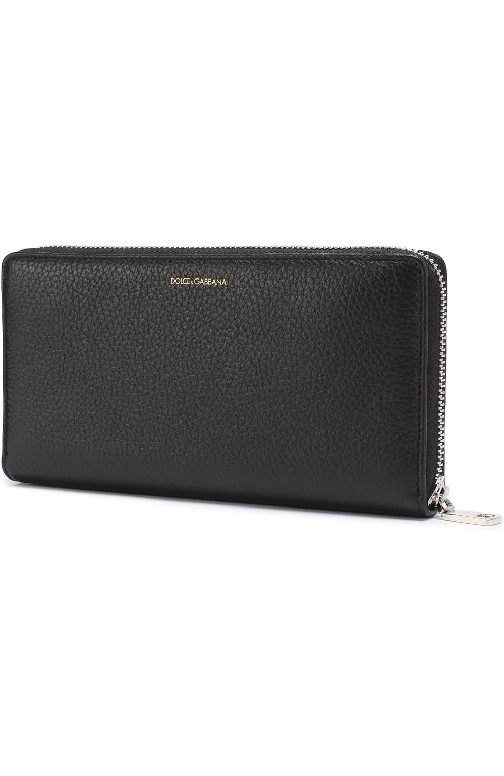 Кожаное портмоне на молнии с отделениями для кредитных карт и монет Dolce & Gabbana черного цвета | Фото №2