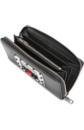 Кожаное портмоне на молнии с отделениями для кредитных карт и монет Dolce & Gabbana черного цвета | Фото №3
