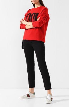 Женские кожаные кеды new ace с аппликацией GUCCI белого цвета, арт. 454551/A38G0 | Фото 2