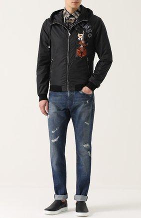 Утепленный бомбер на молнии с нашивками и отделкой из натуральной кожи Dolce & Gabbana черная   Фото №2