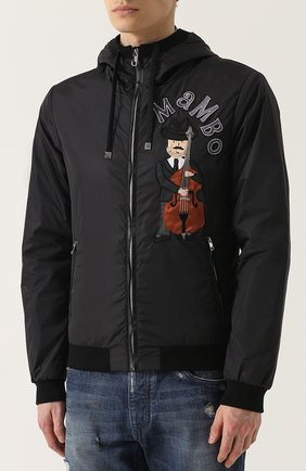 Утепленный бомбер на молнии с нашивками и отделкой из натуральной кожи Dolce & Gabbana черная   Фото №3