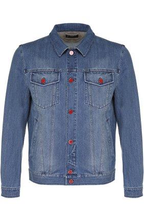 Мужская джинсовая куртка с отложным воротником и контрастными пуговицами KITON голубого цвета, арт. UW0215/7N82 | Фото 1